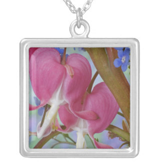 Detail of bleeding hearts and Brunnera Jack Square Pendant Necklace