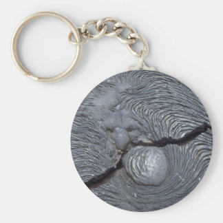 Detail of cracked lava, Bartolome Island, Galapago Basic Round Button Keychain