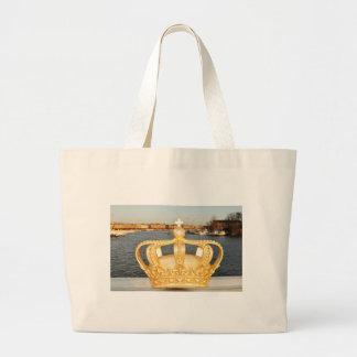Detail of golden crown bridge in Stockholm, Sweden Large Tote Bag