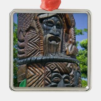 Detail of Kanak totem pole, Noumea, New 2 Silver-Colored Square Ornament