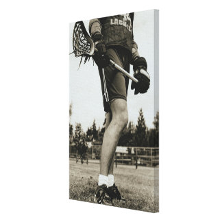 Detail of Lacrosse Athlete Stretched Canvas Print