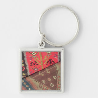 Detail of two prayer rugs Silver-Colored square keychain