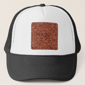 detail pattern of red cedar mulch trucker hat