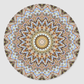 Detailed Blue and Brown Mandala Art Classic Round Sticker
