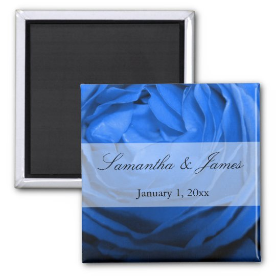 Detailed Blue Rose Personal Wedding Magnet