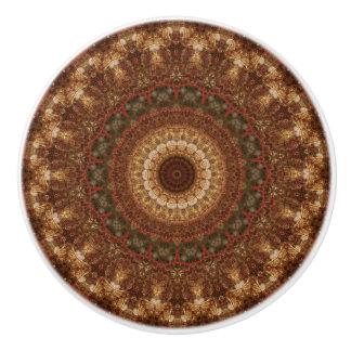 Detailed Brown and Green Mandala Ceramic Knob