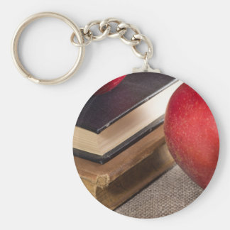 Detailed close-up view of the red apples and old basic round button keychain