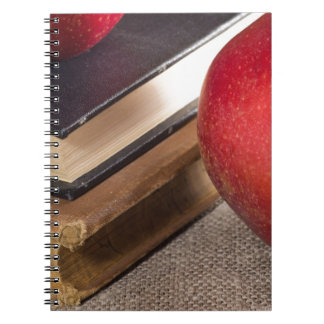 Detailed close-up view of the red apples and old spiral note books