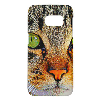 Detailed Graphic Green Eyed Cat Samsung Galaxy S7 Case