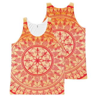 Detailed Hand Drawn Vibrant Red And Orange Mandala All-Over-Print Tank Top