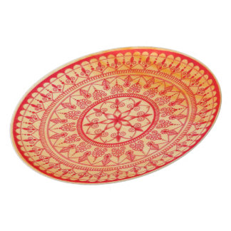 Detailed Hand Drawn Vibrant Red And Orange Mandala Party Plates