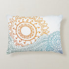 Detailed henna abstract sunrise accent pillow