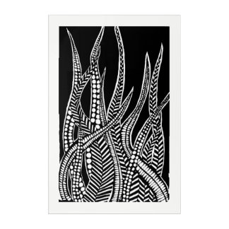 detailed leaves acrylic wall art