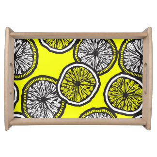Detailed Lemon Slice Pattern Serving Tray