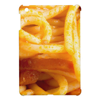 Detailed macro view on cooked spaghetti on a plate iPad mini cases