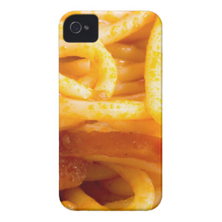 Detailed macro view on cooked spaghetti on a plate iPhone 4 case