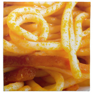 Detailed macro view on cooked spaghetti on a plate napkin