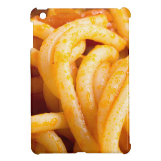 Detailed macro view on cooked spaghetti with sauce iPad mini cases