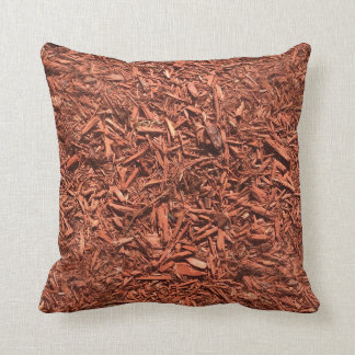 detailed mulch of red cedar for landscaper throw pillow