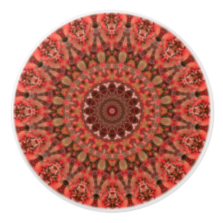 Detailed Orange and Brown Boho Mandala Ceramic Knob