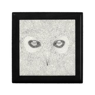Detailed owl illustration in black and white gift box