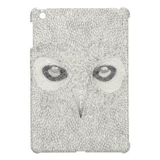 Detailed owl illustration in black and white iPad mini case