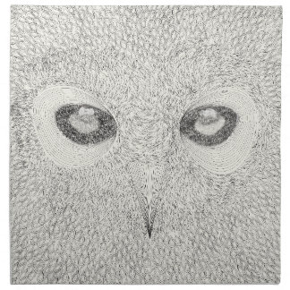 Detailed owl illustration in black and white napkin