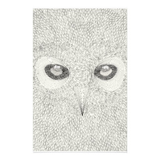 Detailed owl illustration in black and white stationery