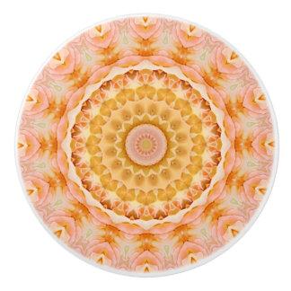Detailed Peach Rose Mandala Ceramic Knob
