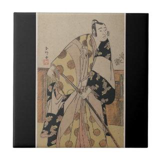 Detailed Portrait of a Samurai circa 1700s Tile