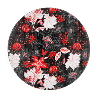 Detailed red tropical floral boards