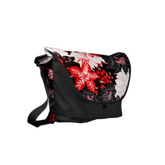 Detailed red tropical floral commuter bags