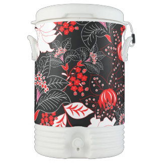 Detailed red tropical floral drinks cooler