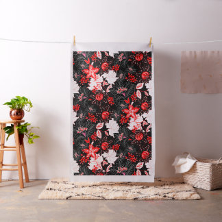 Detailed red tropical floral fabric