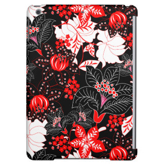 Detailed red tropical floral iPad air covers