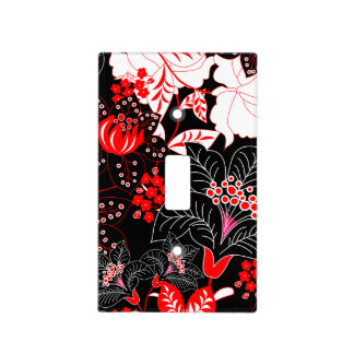 Detailed red tropical floral light switch cover