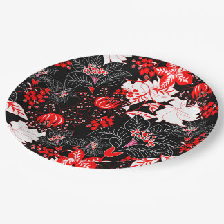 Detailed red tropical floral paper plate