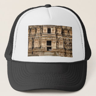 detailed side of building trucker hat