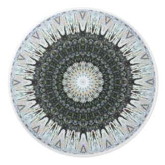 Detailed Silver and Green Mandala Ceramic Knob