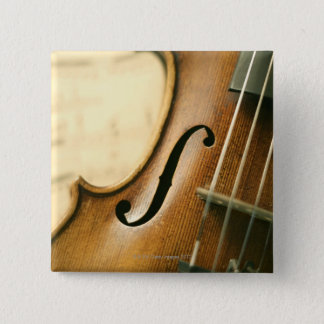 Detailed Violin 2 Inch Square Button