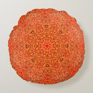 Detailed Warm Colors Mandala Round Pillow