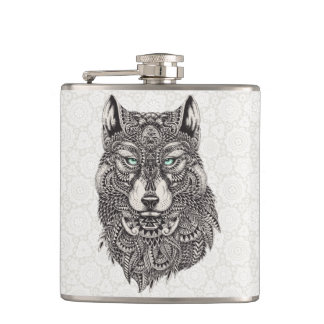 Detailed Wolf Portrait Illustration Hip Flask