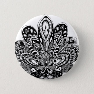Detailed zendoodle Lotus 2 Inch Round Button