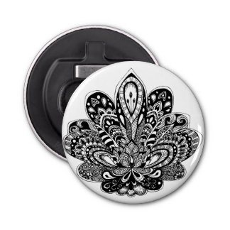Detailed zendoodle Lotus Button Bottle Opener
