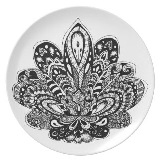 Detailed zendoodle Lotus Dinner Plate