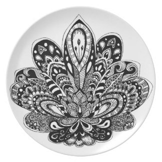 Detailed zendoodle Lotus Party Plate