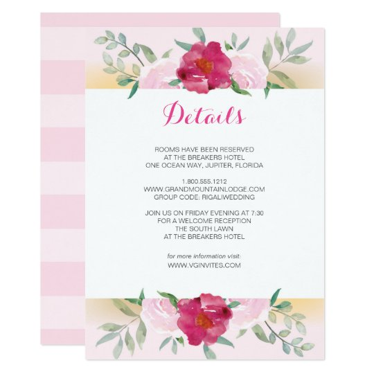 Details Card Pink Floral Wedding Invite Set