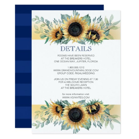 Details Card Sunflower and Navy Blue Invite Set