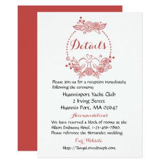 Details Lovebirds Floral Burgundy Wedding Wreath Card