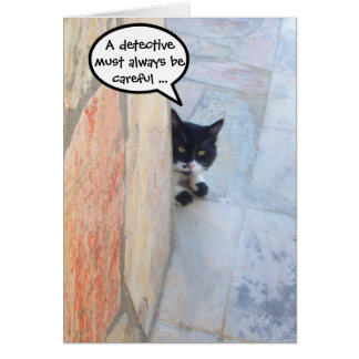 DETECTIVE CAT BEHIND THE STONE WALL / Father's Day Card